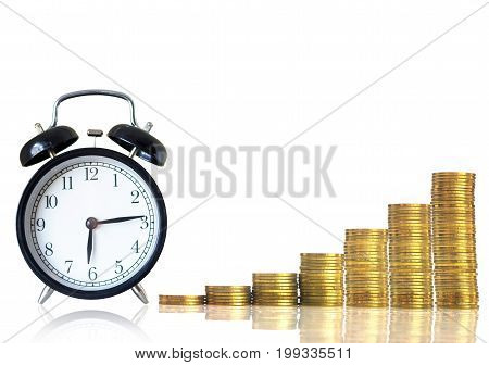 stacks of gold coins step with the vintage clock on white background investment and financial concept,3D illustration