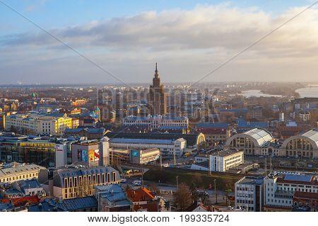 RIGA, LATVIA - 25 DEC 2016.Aerial view of Riga city with Latvian Academy of Sciences, daytime, Riga, Latvia
