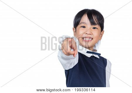 Asian Little Chinese Girl Pointing With Finger