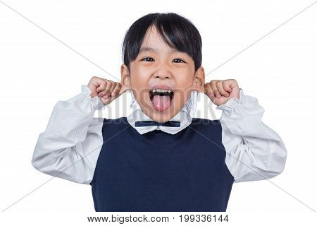 Asian Little Chinese Girl Pulling Ears And Making A Grimace