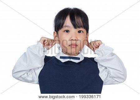 Asian Little Chinese Girl Pulling Her Ears