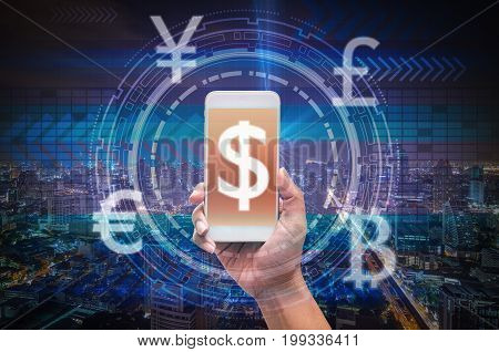 holding smart phone showing the financial technology or FinTech over the innovation technology virtual screen on cityscape background US dollar and other currencybusiness Fin tech network concept,3D illustration