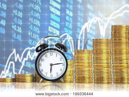 stacks of gold coins step with the vintage clock over the LED display Stock market exchange data background Business investment and trading concept,3D illustration