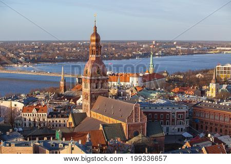 Riga Cathedral and Daugava river, aerial summer day view of old town from St Peter church, Latvia.