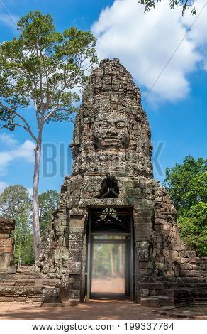 Gate of the ancient Prasat Ta Phrom Angkor Wat Cambodia