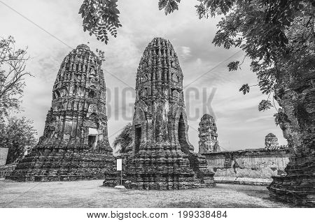 Prang statue in Wat Mahathat. Ayutthaya historical park public temple black and white tone