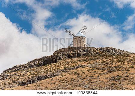 Windmill of Cervantes Don Quixote in Consuegra Toledo Castile La Mancha Spain Europe