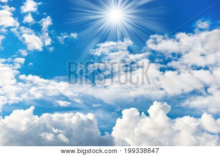 Shining Sun And Rays On The Blue Sky