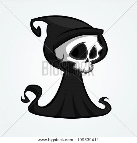 Cute cartoon grim reaper with scythe isolated on white. Cute Halloween skeleton death character icon. Outlined