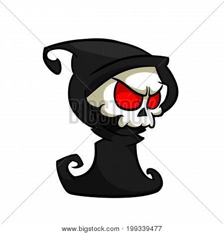 Vector illustration of cartoon death Halloween monster mascot isolated on dark background. Cute cartoon grim reaper. Outlines