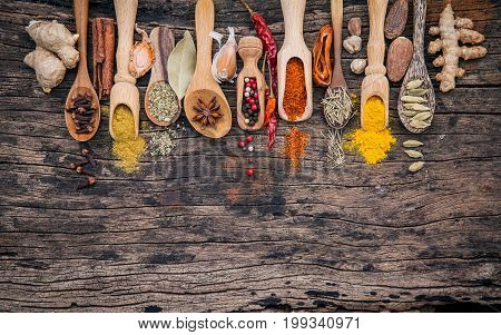Various Of Spices And Herbs In Wooden Spoons. Flat Lay Of Spices Ingredients Chilli ,pepper Corn, Ga