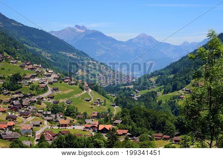 Panoramic view in Swiss Alps during summer seasson