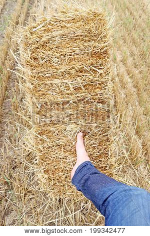 Men left foot pressed on straw bales.
