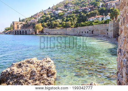 Ancient shipyard near of Kizil Kule tower in Alanya peninsula Antalya Turkey