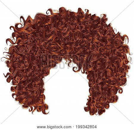 trendy curly  red ginger hair  . realistic  3d . spherical hairstyle . fashion beauty style .