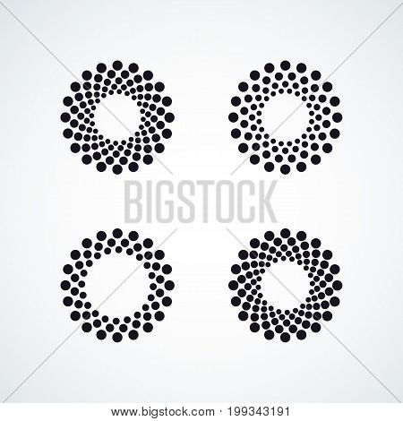 Halftone dotted vector frame, dot pattern in circle shape. Black border isolated on white background. Trendy design element for round banner or logo.