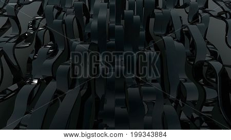 Abstract background with black wave lines. 3d rendering.