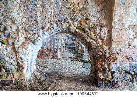 Buildings of old shipyard that is the part of Alanya fortress Antalya Turkey.