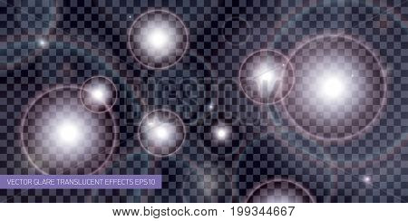 Vector translucent light glare effect. Abstract vector design background