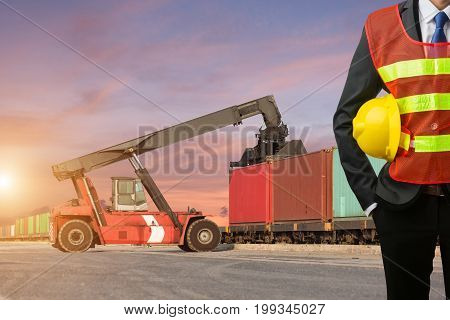Foreman Or Working Businessman Stand On Front Forklift Loading Containers Box