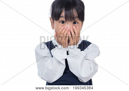 Asian Little Chinese Girl Covering Her Face