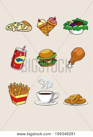 food and beverage cartoon icon fastfood illustration