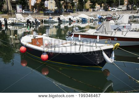 Boats moored at the harbor harbor in Rimini Italy - June 21 2017