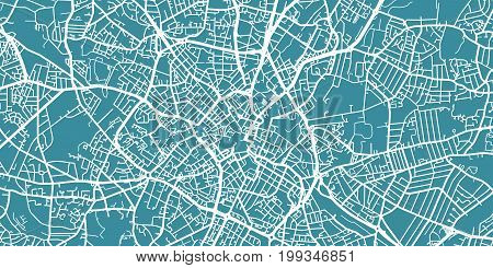 Detailed vector map of Birmingham, scale 1:30 000, England, UK