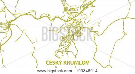 Detailed vector map of Cesky Krumlov in gold with title, scale 1:30 000, Czech republic