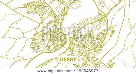 Detailed vector map of Derry/Londonderry in gold with title, scale 1:30 000, Northern Ireland