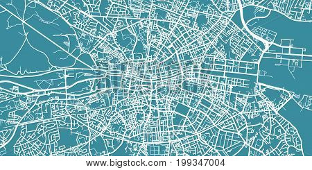 Detailed vector map of Dublin, scale 1:30 000, Ireland