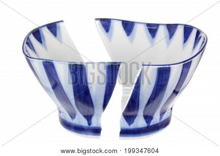 Broken Bowl on an Isolated White Background