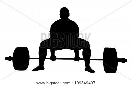 front view athlete powerlifter exercise deadlift black silhouette
