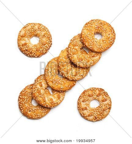 sesame cakes on white background in the form of %