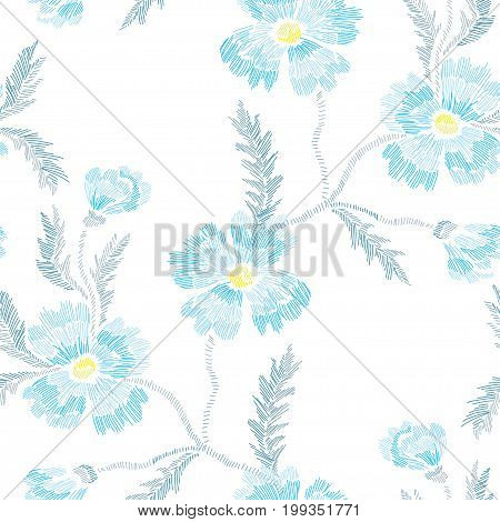 Elegant seamless pattern with hand drawn decorative cornflowers design elements. Floral pattern for invitations cards wallpapers print gift wrap manufacturing fabrics. Embroidery style