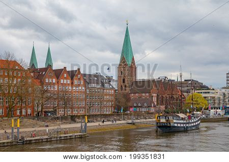 BREMEN, GERMANY - 16 APR 2016: View of old town along Weser river