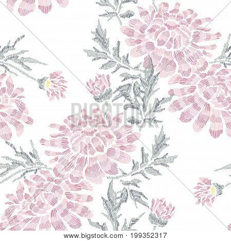 Elegant seamless pattern with hand drawn decorative chrysanthemum flowers design elements.Floral pattern for invitations cards wallpapers print gift wrap manufacturing fabrics. Embroidery style