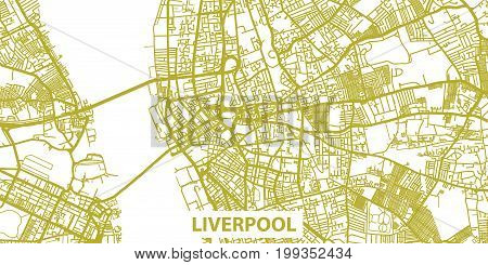 Detailed vector map of Liverpool in gold with title, scale 1:30 000, England, UK