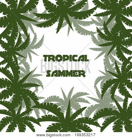 Bright vector green leaf floral banner template for summer palm beach paradise party. Tropical flyer with exotic palm leaves exotic jungle and hawaii tropic green plants.