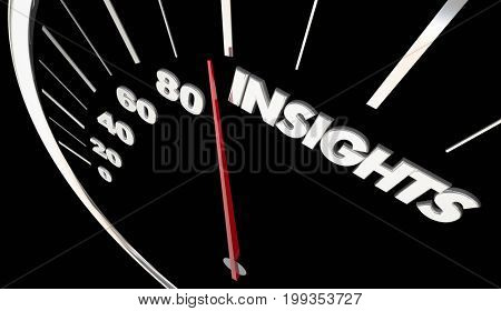 Insights Intelligence Information Speedometer Measure Results 3d Illustration