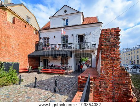 Unusual building in the central part of Warsaw. Poland.