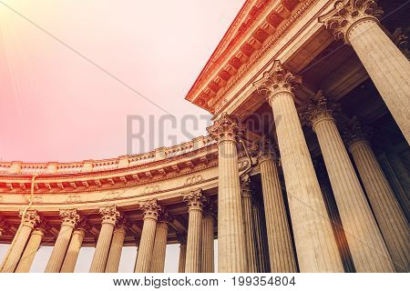 Pillars or columns of Kazan Cathedral (Cathedral of Our Lady of Kazan) in sunlight effect, in Saint Petersburg, Russia