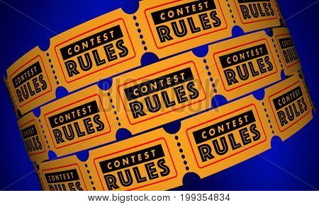 Contest Rules Eligibility Requirements Tickets 3d Illustration
