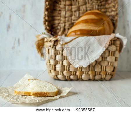 A pretty still life with bread. Healthy food. Beauty. Still life.