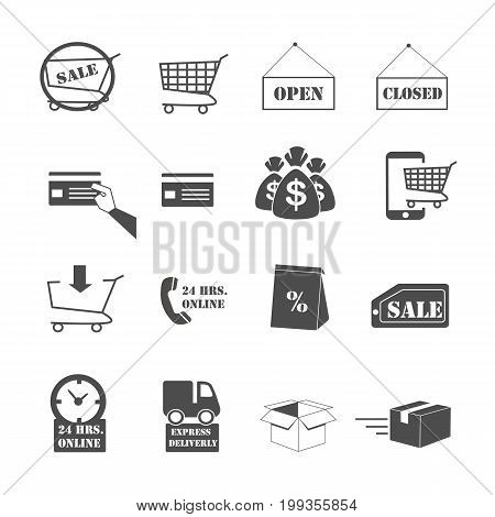shopping online and e-commerce icons set vector