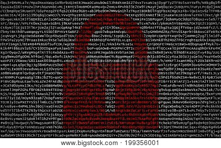 Red Lock Over Encrypted Text