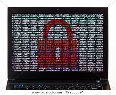 Red Lock Over Encrypted Text On A Laptop Screen Against A White Background