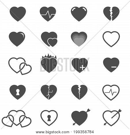 heart icons set on white vector illustration