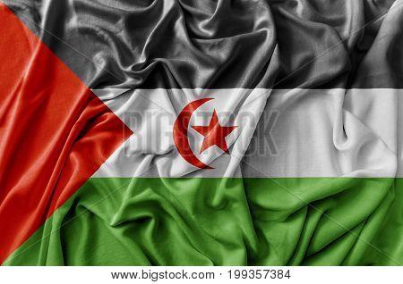 Ruffled waving Sahrawi Arab Democratic Republic flag