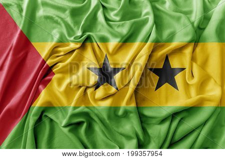 Ruffled waving Sao Tome and Principe flag